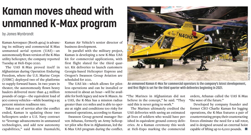 Kaman moves ahead with unmanned K-Max program